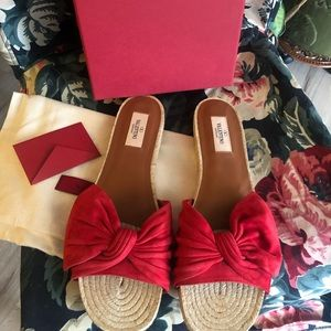 Valentino red espadrilles slides